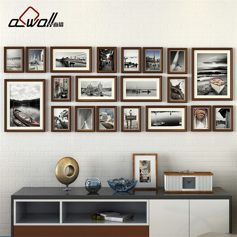 Cadres Photo en bois Collage cadre Photo cadres muraux cadre européen pour photos Porta Retrato Moldura 20 pièces/ensemble