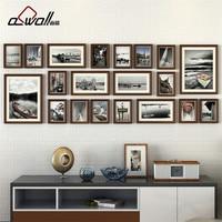 Wood Photo Frames Collage Picture Frame Photo Frames Wall Set European Frame for Pictures Porta Retrato Moldura 20 Pieces/set
