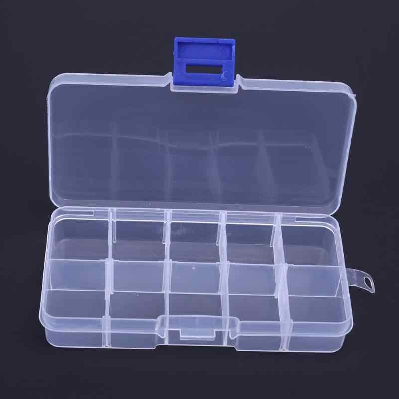 10 Compartments Portable Transparent Plastic Fishing Lure Storage Box Case