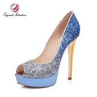 La intención Original de la moda de las mujeres zapatos de plataforma sandalias Stiletto Tacones altos Bling bombas Tacones Mujer mezclar colores más zapatos de tamaño