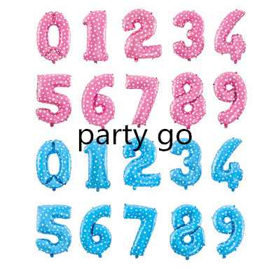 16'' Number Foil balloon pink Blue digit  Helium Balloons Birthday Party Decorat