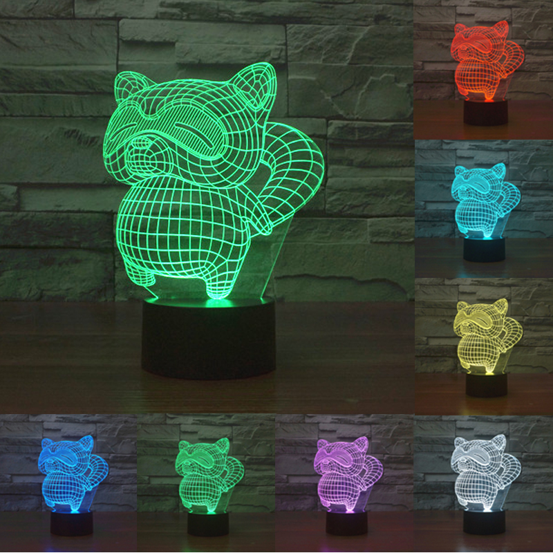 small raccoon bear 3D illusion Led touching nightlight 7 colors lamp USB Desk Lamp gift Christmas lights for kids IY 803535