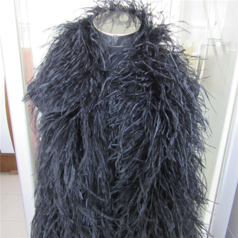 YY-tesco 2 Meters/Lot 6 Layers natural Ostrich Feather Boa Quality fluffy Costumes/Trim for Party/Costume/Shawl/Craft Available
