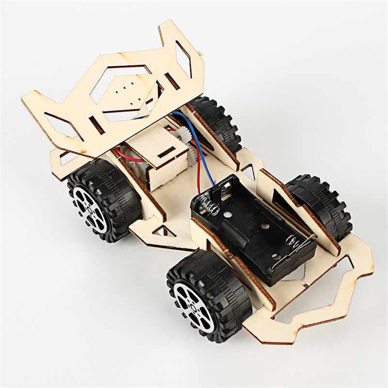 ใหม่ไม้ DIY รุ่น Racing ชุดไม้เด็ก Physical Science การทดลองของเล่นชุดรถประกอบของเล่นเพื่อการศึกษาเด็กของขวัญ