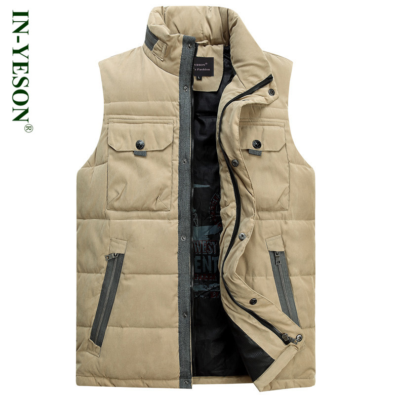 New Brand Light Down Men Stand Collar Multi Pockets Ultralight Down Vest Men Lightweight White Duck Down Sleeveless Jacket