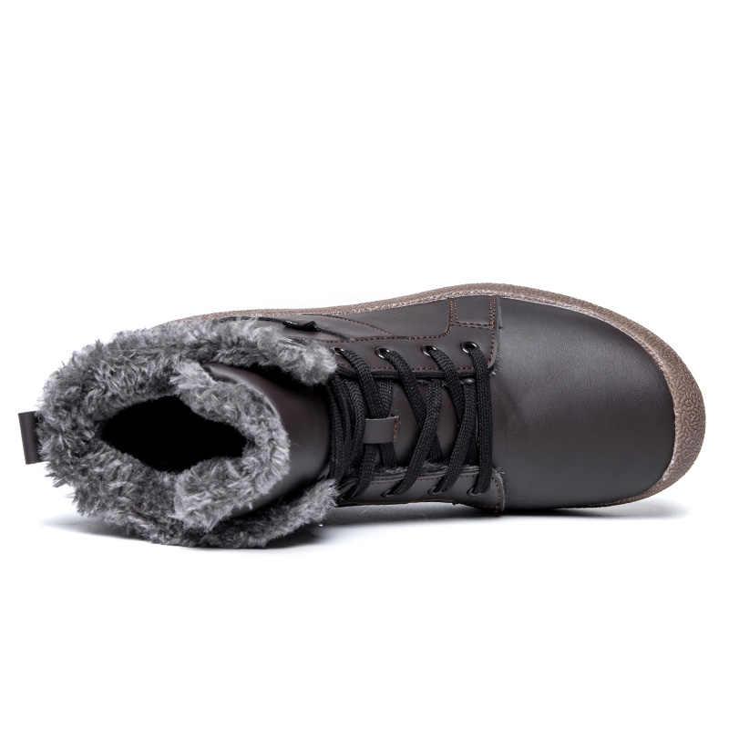 Mannen Big Size Winter Wandelschoenen Met Bont Unisex Warm Sneeuw Wandelen Barefoot Schoenen Mannelijke Waterdichte Lederen Trekking Outdoor Laarzen