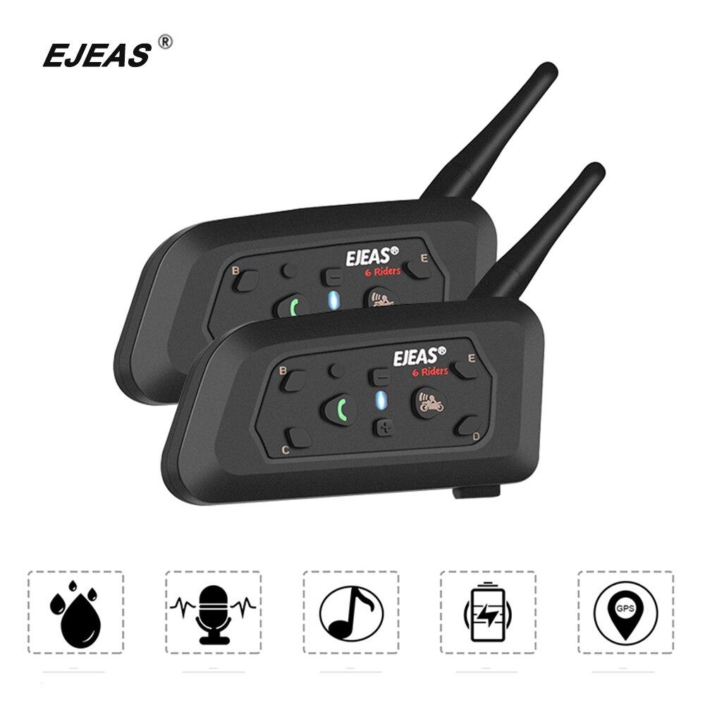 EJEAS 2PCS Helmet Headset Motorcycle Intercom Bluetooth Waterproof Interphone Motobike Interfone Comunicador Moto Headset 1200m