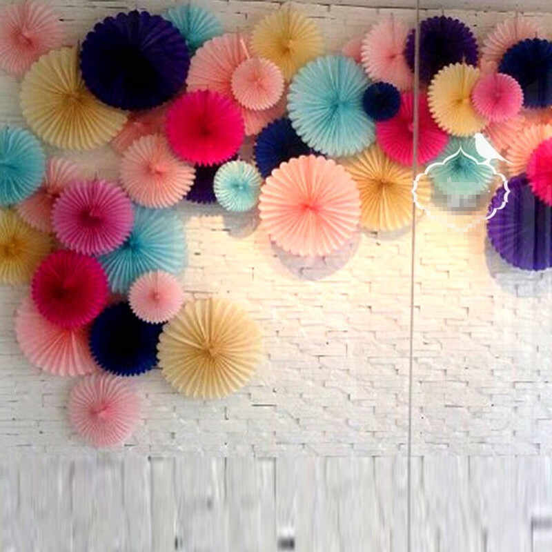 New (6 Size) Tissue Paper Fans Flowers Pompoms Balls Christmas Wedding Decor Supplies Kid Birthday Party Decor Baby Show Crafts
