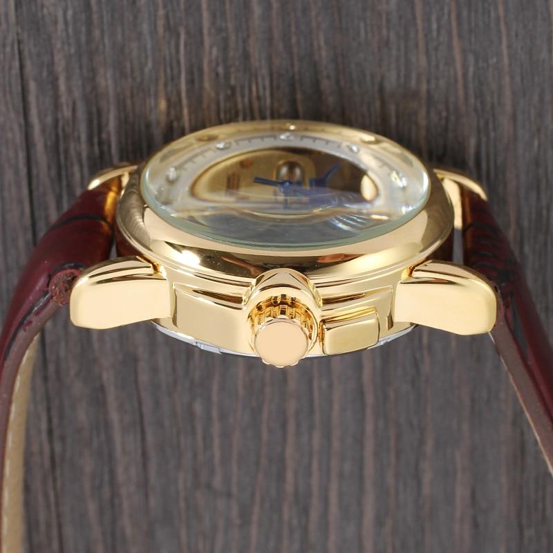 ponteiro azul marrom avermelhado pulseira de couro masculino relógio automático