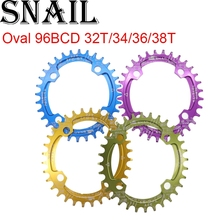 SNAIL Oval Chainring 96 BCD 32T 34T 36T 38T Narrow Wide Single chainwheel Tooth Plate MTB Mountain Bike 96BCD for Shimano M4000