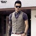 New Men's Slim Vest Suit Single Row Button Casual linen Vest Waistcoats Men's brand Sleeveless Jacket British spring Suit Vest