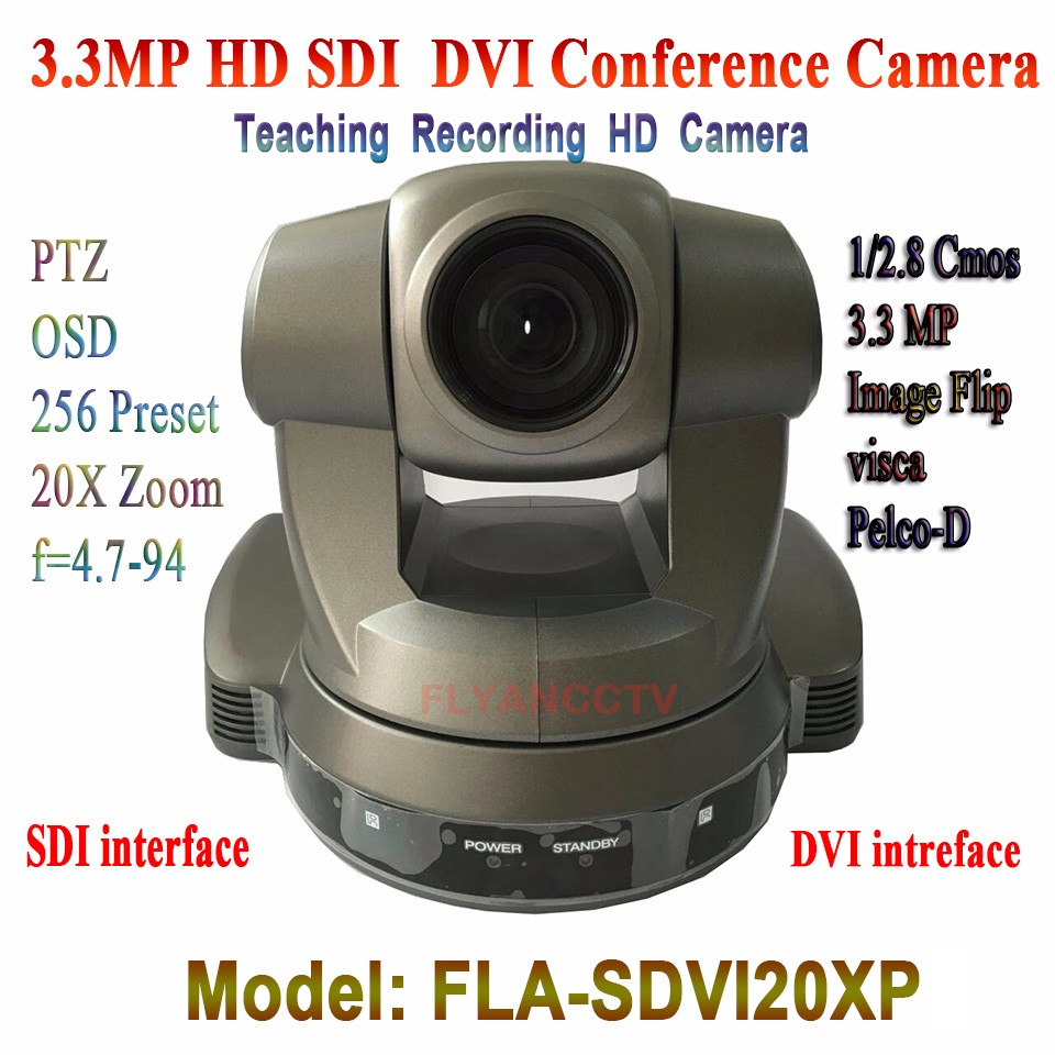 High Quality DVI SDI 3.3MP Video Meeting HD Conference Camera 20x Zoom Wide Angle 2.9~55.4 Degree For Conference Training Room dannovo sony 20x zoom 1080p ptz video conference room camera support hd sdi hdmi ypbpr av video output visca pelco rs232 rs485