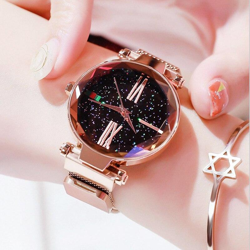 b8e88e211f1 Senhoras de luxo Céu Estrelado Relógio de Ouro Rosa Mulheres Relógios  Pulseira Magnética Bukle Moda Malha Casual Feminina Relógio À Prova D  Água  Reloj em ...