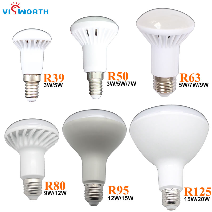 VisWorth R39 R50 LED Lamp E14 LED Light Bulbs 3W 5W 7W 9W 12W 15W 20W AC 110V 220V 240V Cold White E27 LED Lights Decoration r39 r50 r63 r80 led light 3w 5w 9w 12w e27 e14 umbrella led bulb cool white warm white ac85 265v dimmable spotlight lamp 1pcs