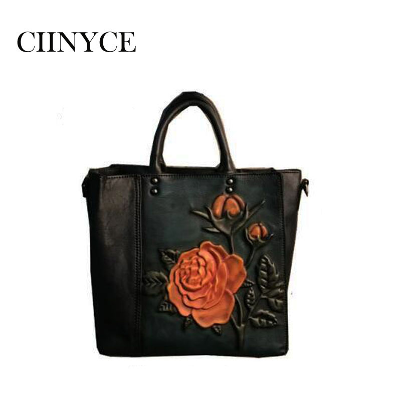 women Vintage Totes Female Crossbody shoulder bags Handbags cowhide Nature Cow leather Genuine Skin Designer Floral Handmade new designer handbags satchel genuine cow leather totes crossbody bags single shoulder vintage women s solid hasp hard bags