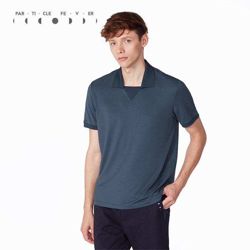 Particle Fever Three Colors Summer Exercise Polo Shirt Men Short Sleeve Sports Shirt dark blue color blocking three buttons short sleeve men s polo shirt