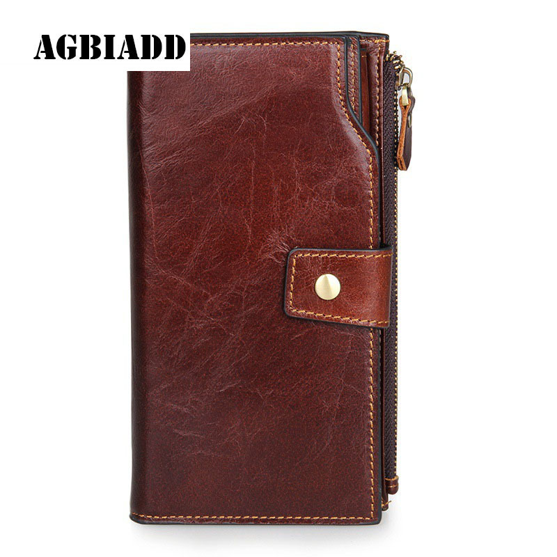 Multifunctional Large Capacity Business Men Long Zipper Hasp Wallet Genuine Leather Male Purse Coin Pockets Male Clutch 301 gathersun brand handmade 2017 original design genuine leather men wallet vintage style large capacity long purse clutch wallet