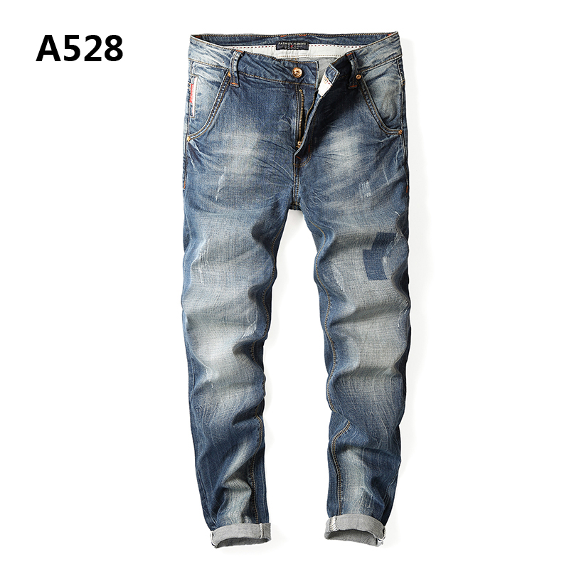 Top Quality Brand Clothing Casual Mid Stripe Regular Fit Ripped Jeans Men High Grade Designer Mens Light Blue Jeans Uomo A528 classic mid stripe men s buttons jeans ripped slim fit denim pants male high quality vintage brand clothing moto jeans men rl617