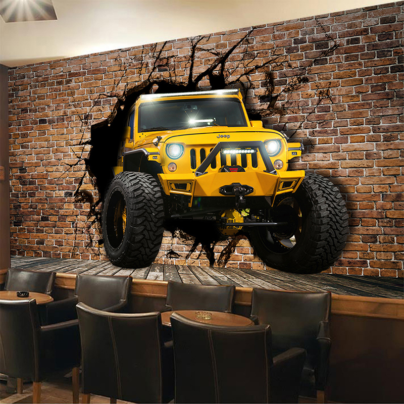 Personalized Customization Yellow Jeep Car Broken Wall Brick Wallpaper Restaurant Cafe Bar KTV Backdrop Wall 3D Mural Wall Paper