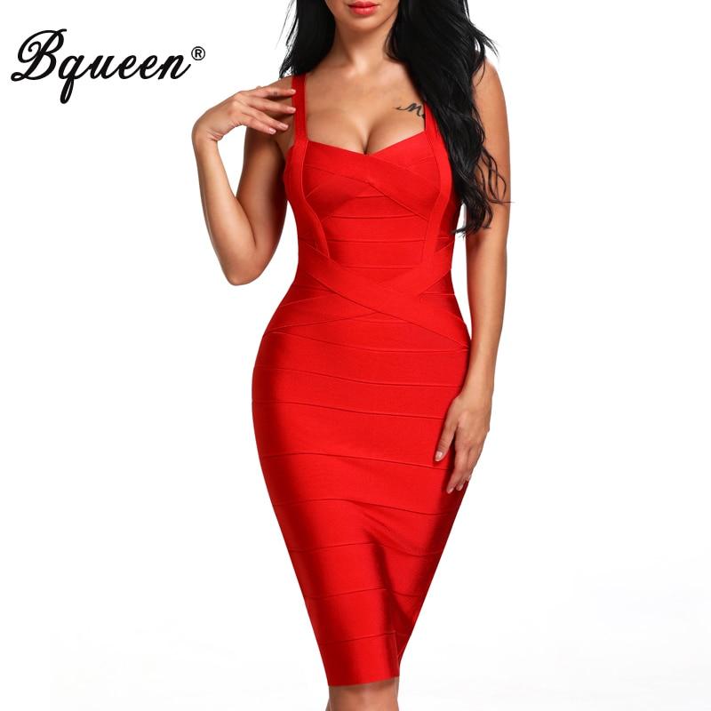 Bqueen 2019 New Women Bandage Dress Sexy Celebrity Elastic Lady Spaghetti Strap Runway Club Bodycon Party Dresses Midi