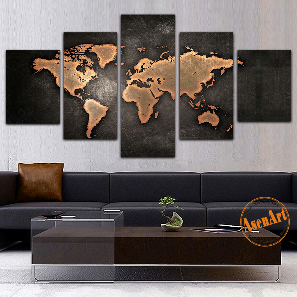 5 panel canvas painting classic world map canvas prints painting 5 panel canvas painting classic world map canvas prints painting wall art picture for living room home decor wall paintings in painting calligraphy from gumiabroncs Choice Image