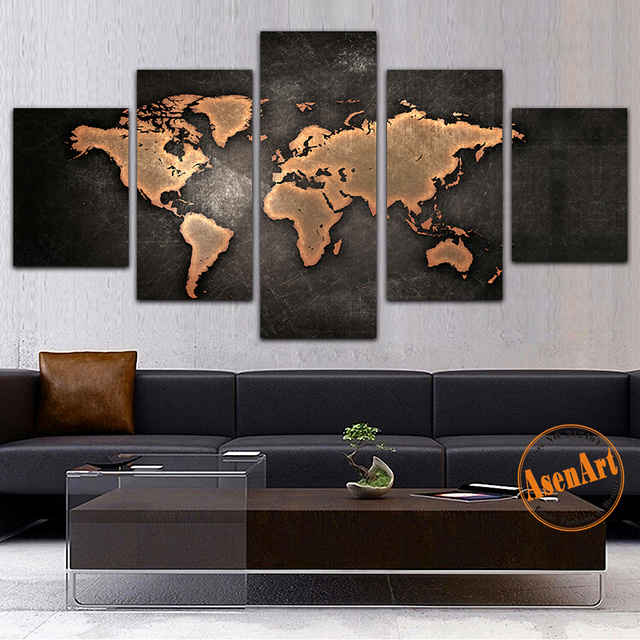 5 panel canvas painting classic world map canvas prints painting 5 panel canvas painting classic world map canvas prints painting wall art picture for living room gumiabroncs Gallery