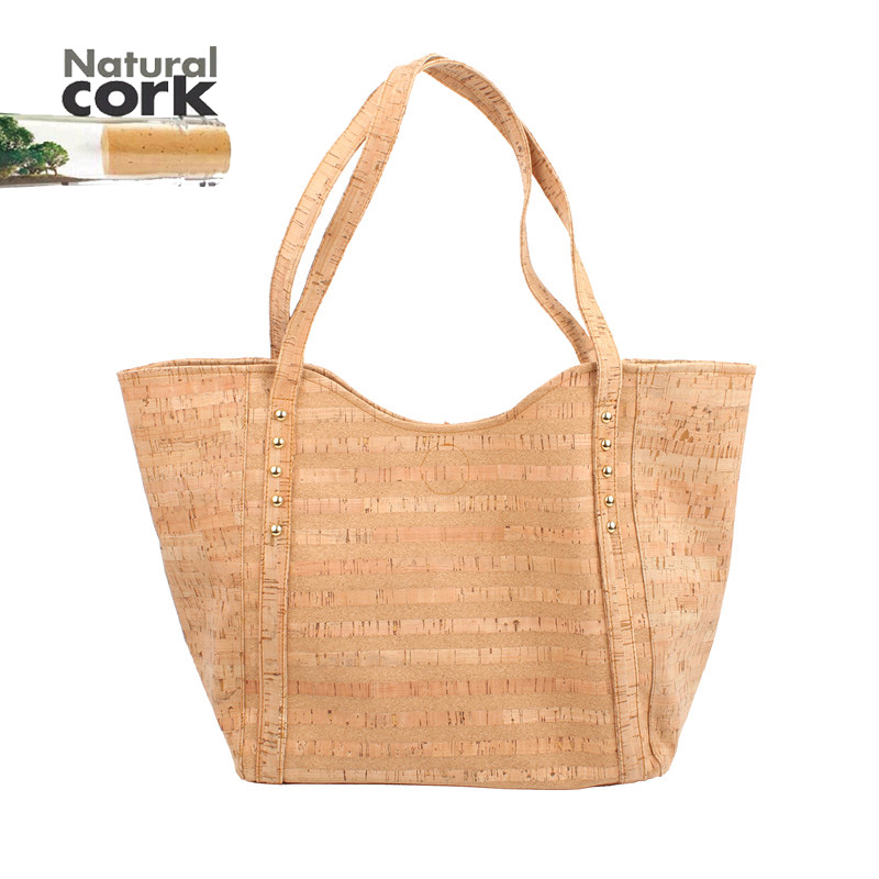 Natural cork handmade women Original Totes casual totes handbags vegan high quality Bag-133 From Portugal natural cork watch strap brown cork with pu leather handmade vegan high quality e 001