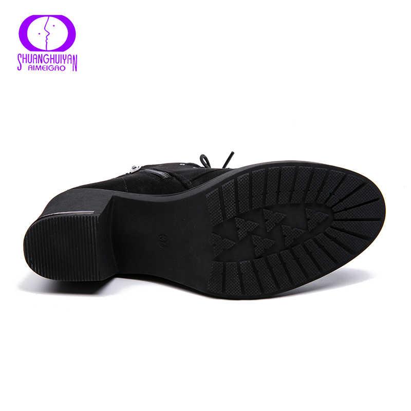 AIMEIGAO Mùa Xuân Mới Thu Đông Nữ Mắt Cá Chân Giày Da Lộn Ngắn Boot Phối Ren Giày Nữ Với Bộ Lông 2018 Mới khách đến