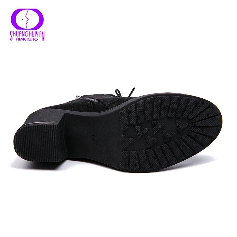 Image 4 - AIMEIGAO nowa wiosna jesień kobiety botki zamszowe krótkie botki sznurowane buty damskie z futra buty 2018 nowościButy do kostki   -
