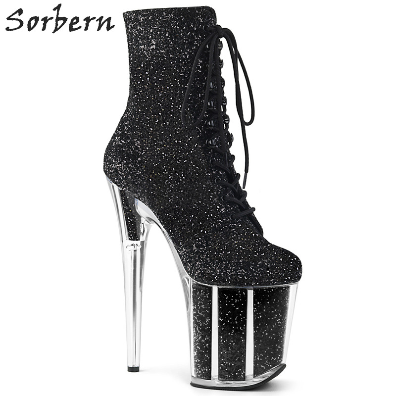 Sorbern Sexy Glitter Extreme High Heel Ankle Boots Women Exotic Heels Pole Dance Boot Females Side Zipper Shoe Lady Multi Colors