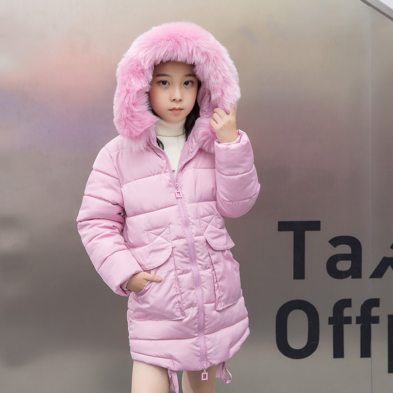 New 2018 Fashion Casual Children Winter Jacket Girl Coat Kids Warm Thick Fur Collar Hooded Long Cotton Coats for Teenage 5-12Y hot sale new 2014 women winter fashion md long thick slim big fur collar hooded plus size belt cotton padded casual jacket lj434