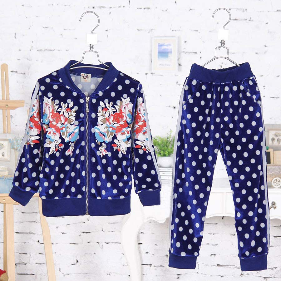 Spring New Korean Style Polka Dot Fashion Boys Clothing Sets Long Sleeve Dress Casual Clothing Sets 2461
