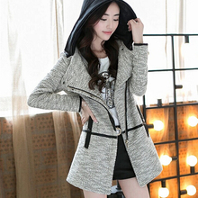 Spring Autumn Women New Arrival Fashion Clothing Female Patchwork Casual Hooded Clothing Long Design Long Sleeve Trench HZ1181