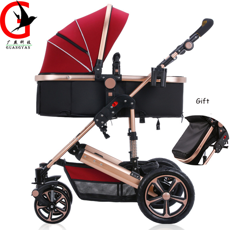 2017 High landscape luxury 3 in 1 Brand Baby Stroller Portable Lightweight Travel Strollers Baby Carriage with 9 Free Gifts newborn strollers high lightweight pram dropshipping wholesale portable baby top stroller carriage strollers fashion pushchair