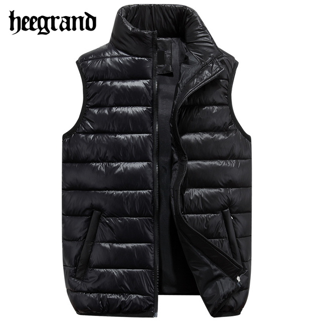 Hee grand hombres chaleco de algodón de invierno hombre chaqueta de moda masculina de estilo coreano collar del soporte sólido sin mangas outwear chaleco mwb252