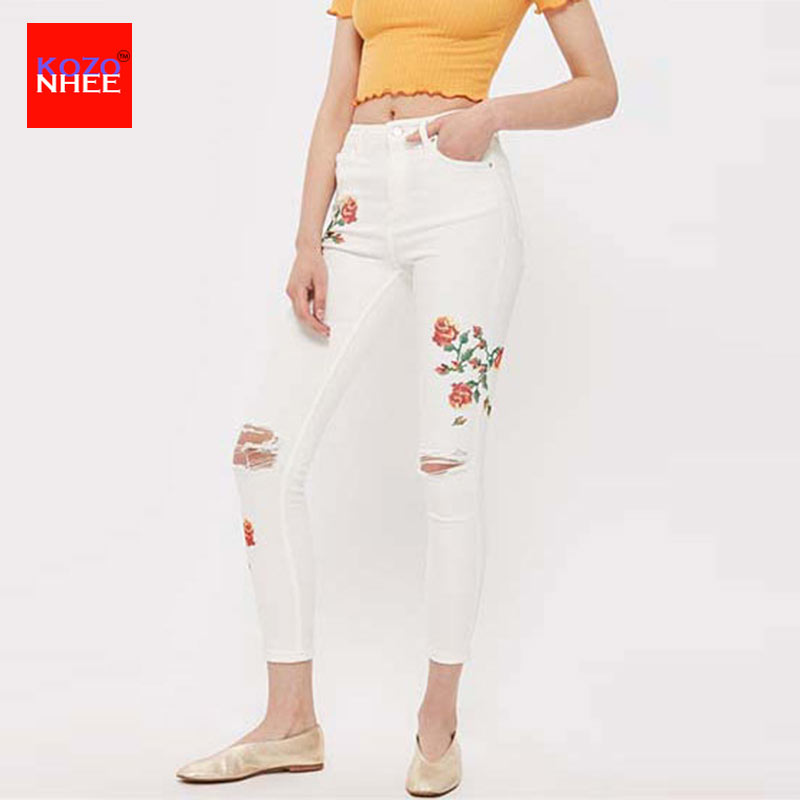 Large Size Elastic Hole embroidery Jeans With High Waist Women Computer Embroidery Rose Stretch Pencil Ripped Jeans Skinny Jeans