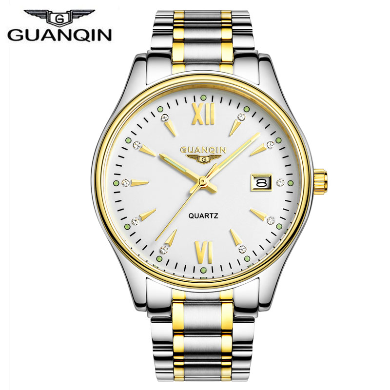 ФОТО Brand GUANQIN Watch Men Luminous Business Quartz Wristwatch fashion Men's Quartz Casual Watch male Stainless Steel clock hours