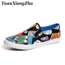 Fashion Graffiti Men Casual Shoes Mens Canvas Man Loafers Luxury Brand Comfortable Flat Slip-on chaussures homme