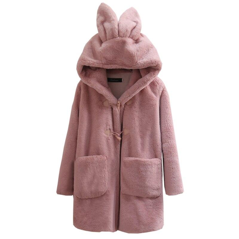 Hiver femmes fourrure manteau veste femme fausse fourrure manteau femme agneau laine fourrure manteau rose pardessus manches longues Cardigan Long Outwear