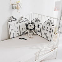 4pcs Baby Bed Bumper Little House Pattern Crib Protection Infant Cot Newborn Bedding Nordic Bed Bedding Decor Girl Boy Bedroom