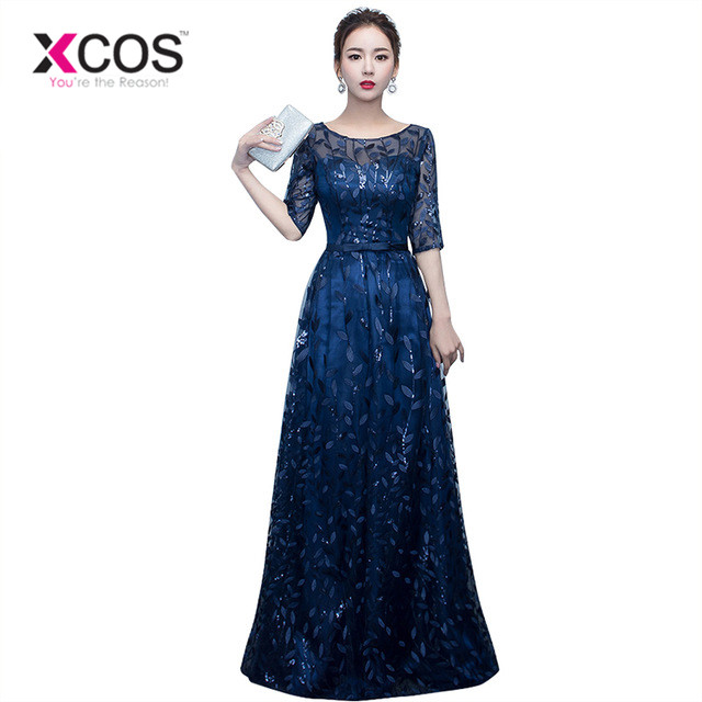 XCOS Long Evening Dress 2017 Hot Sale Scoop Neck Half Sleeves Navy Blue Lace Up Formal Evening Dresses Robe De Soiree ...
