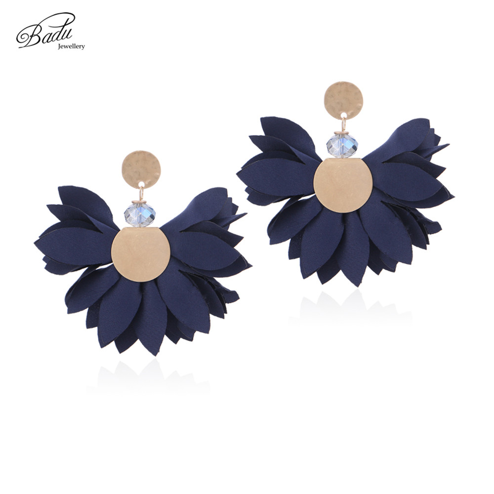Badu Satin Chiffon Earring Big Statement Flower Earrings for Party Romantic  Jewelry 6 Colors Halloween Dropshipping