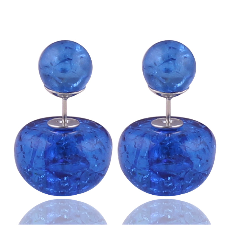 11 Colors New Design Natural Stone Crack Double Sides Pearl Earrings Luxurious Crystal Double Ball Beads