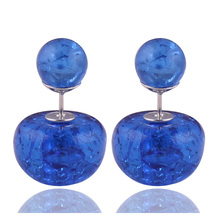 11 Colors New Design Natural Stone Crack Double Sides Pearl Earrings Luxurious Crystal Double Ball Beads Earrings For Women Gift pair of stylish double end crack bead earrings for women