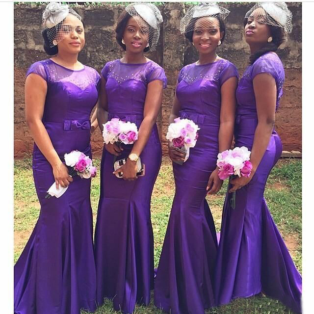 Saudi Arabia Purple Satin Scoop Bridesmaid Dresses 2016 Short Sleeve Wedding Party Dress Bride Maid