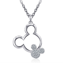 HOMOD 2019 New Mickey Necklace Clear Crystal Rhinestone Cute Cartoon Mouse Pendant Necklaces For Women Girls Long Chain