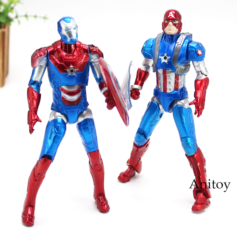 Super Hero Avengers Captain America Action Figure With LED LightDoll Toy Kids Gifts 2pcsset 17.5cm KT4624
