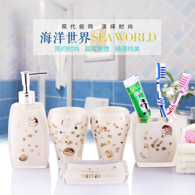 Christmas Decorations For Home Shell Bathroom Set Five Pieces Set Bathroom  Toiletries Bathroom Set Fashion