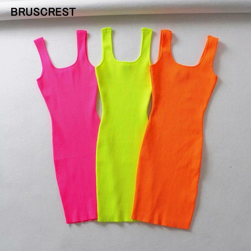 2020 Summer Pink Neon Green Dress Women Ribbed Fluorescence Knit Bodycon Dress Tank Beach Casual Mini Dress Short Sundress