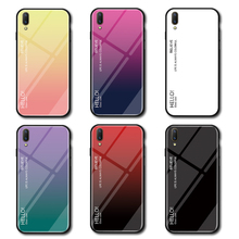 For Huawei Enjoy 9 Case Tempered Glass for Gradient Color Back Cover Soft Bumper
